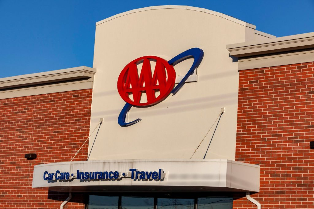 A AAA Roadside Assistance building with the AAA logo on the front.
