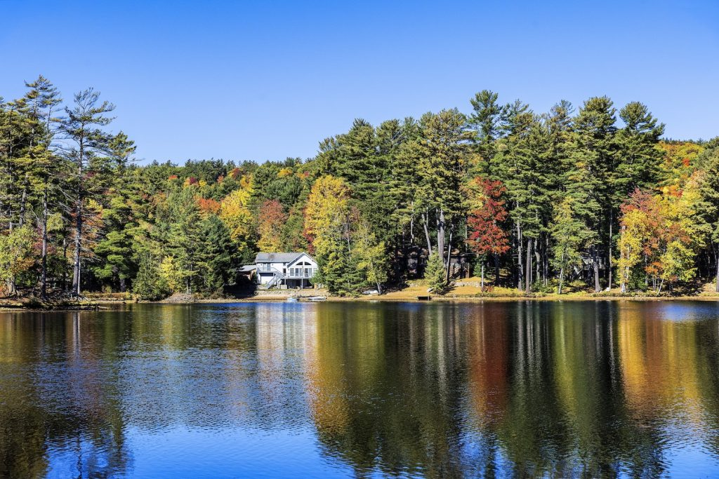Autumn lake house on Lake Luzerne in the Adirondack mountains