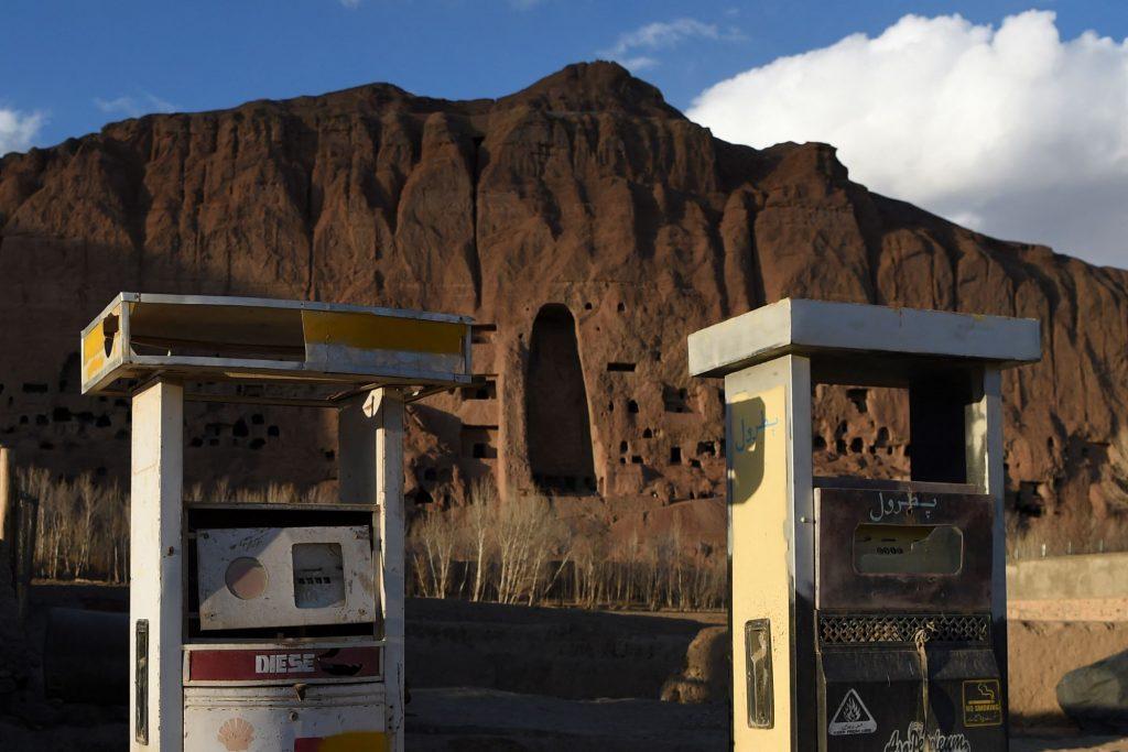 An Afghanistan petrol gas pump station near a Taliban attack site