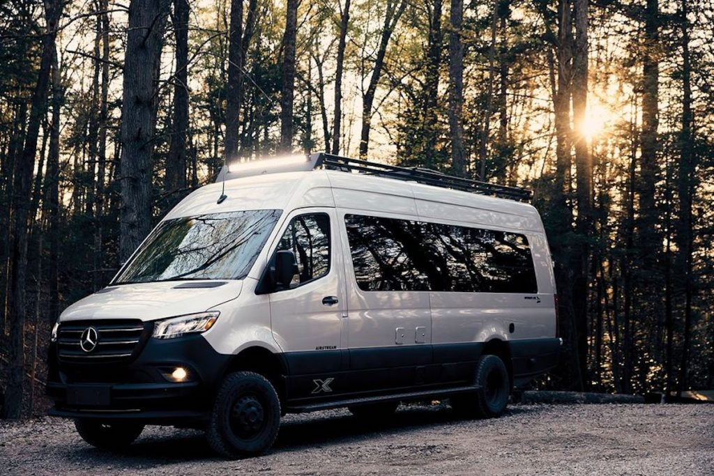 The new Airstream Interstate 24X camper van parked in the woods