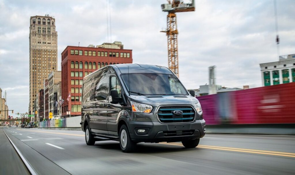 2022 Ford E-Transit rolling down the road