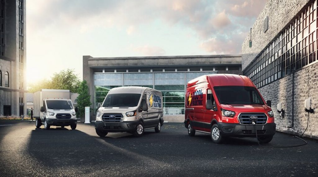 The new electric Ford Transits parked together