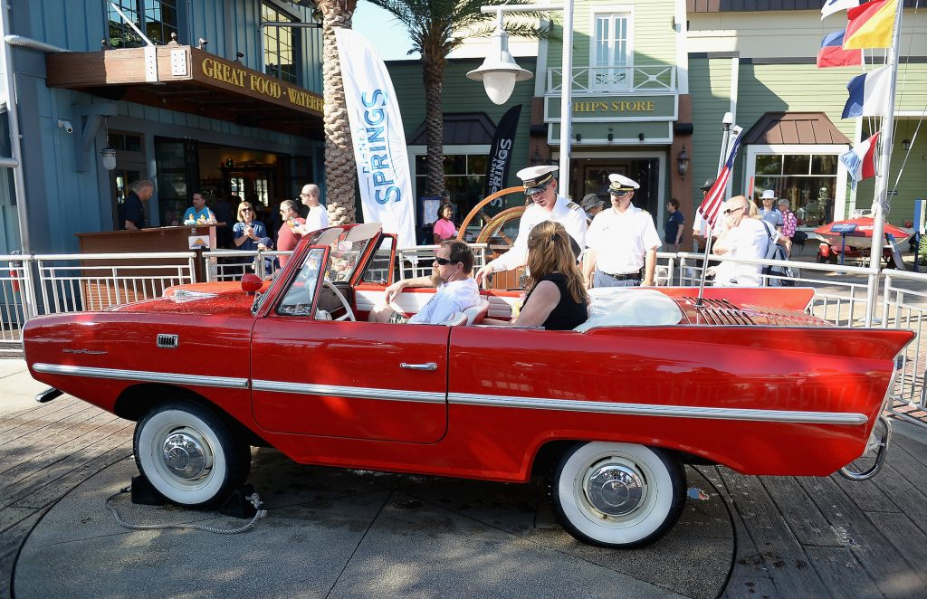 An Amphicar outside the Boathouse restaurant at Disney Springs in Orlando, Florida, in April 2016