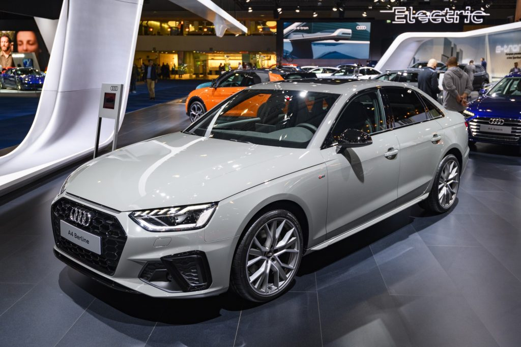 Audi A4 sedan on display at Brussels Expo on January 9, 2020 in Brussels, Belgium