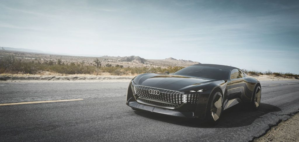 The Audi Skysphere concept car model parked on the side of a country highway