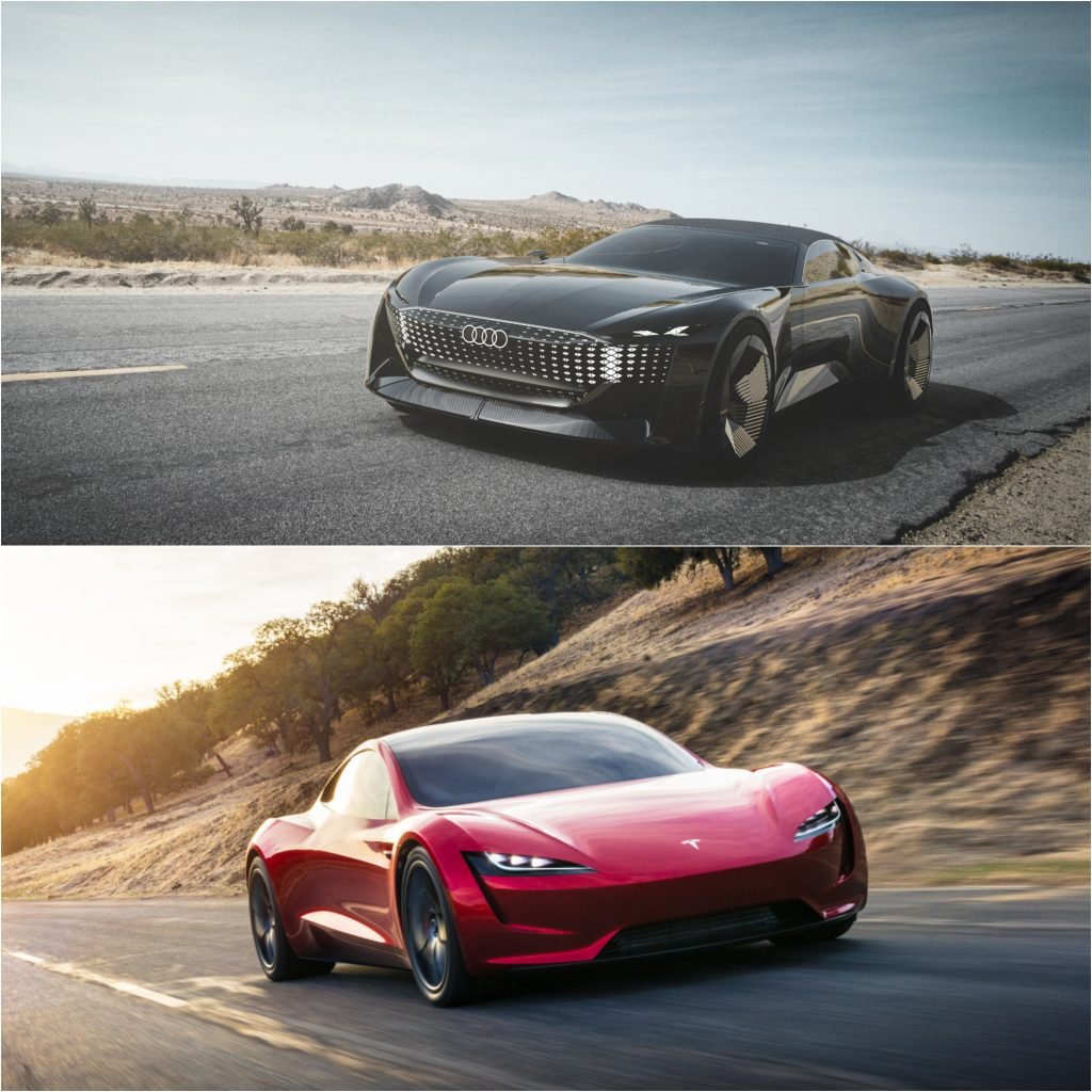 Audi Skysphere Concept and Tesla Roadster Electric Cars