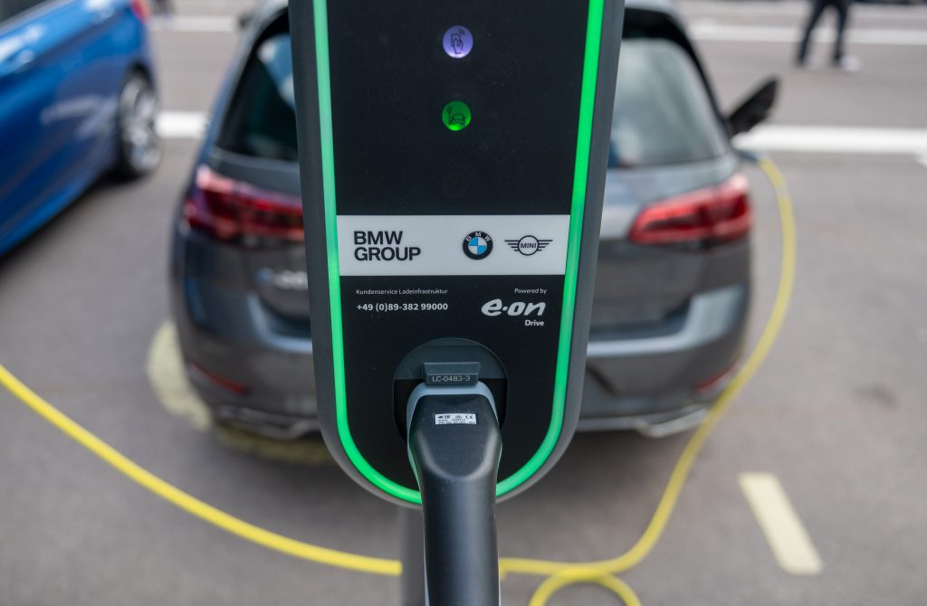 An electric charging station at the BMW factory in Leipzig, Germany