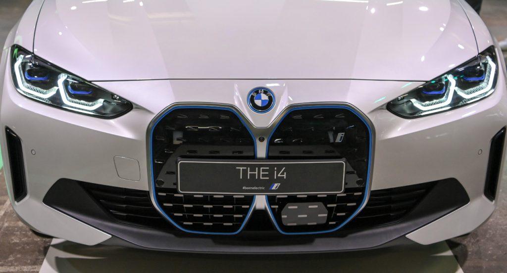 A white 2022 BMW i4.