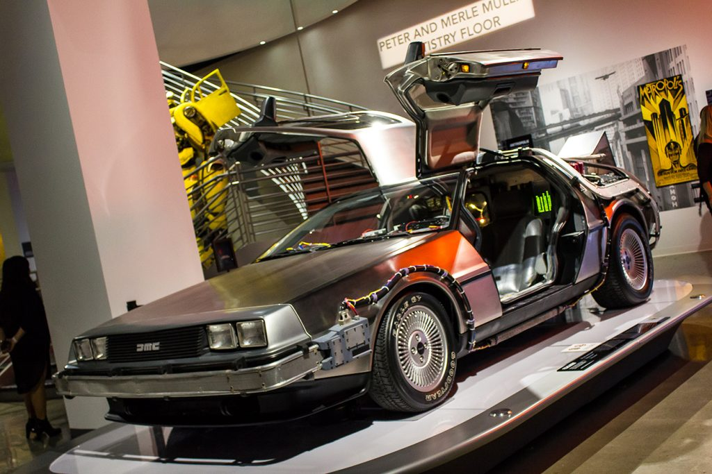 """The DeLorean from the film """"Back To The Future."""" Seen here in a movie cars exhibit."""