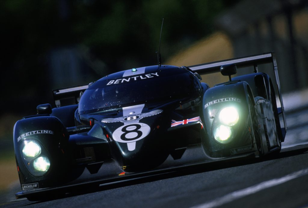 Bentley Speed 8 driven by Johnny Herbert and Mark Blundell of Great Britain and David Brabham of Australia during the 24 Hour Le Mans