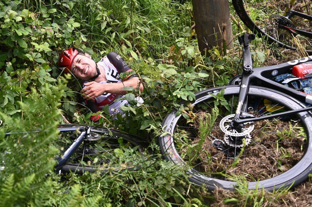 A Tour de France bike crash during a cycling race