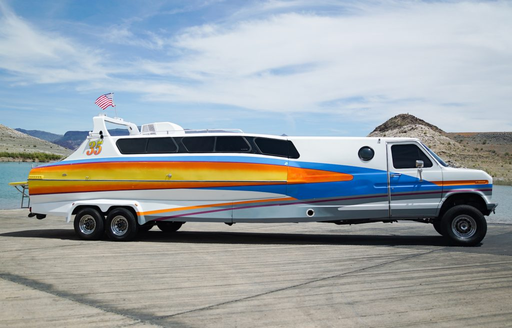 A side view of the Boaterhome. Car enthusiast John Ortlieb of Nevada owns two of these vehicles. Only 21 exist.