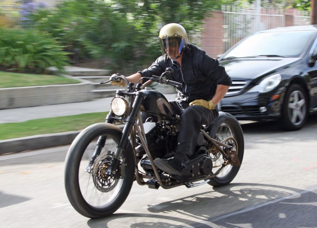 Brad Pitt riding his custom motorcycle in Los Feliz