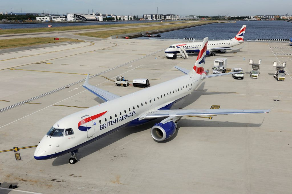A British Airways BA CityFlyer Embraer 190LR parked on an airfield tarmac