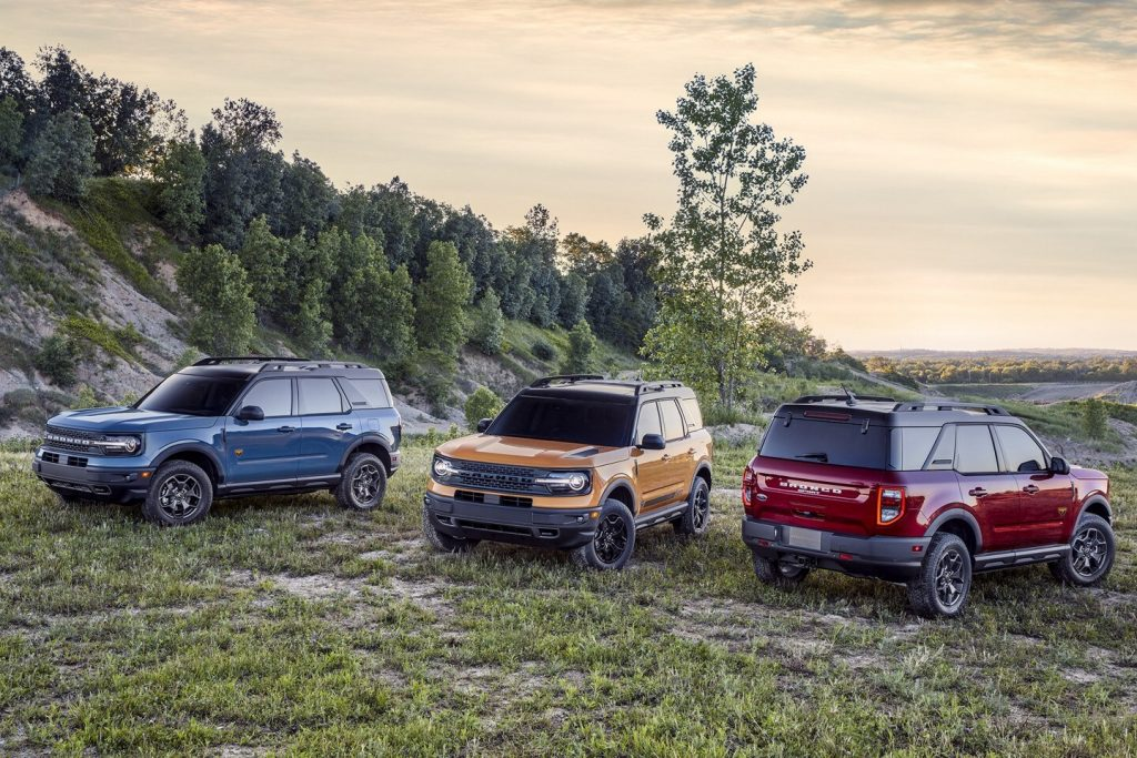 2021 Ford Bronco Sport in different configurations parked in a field