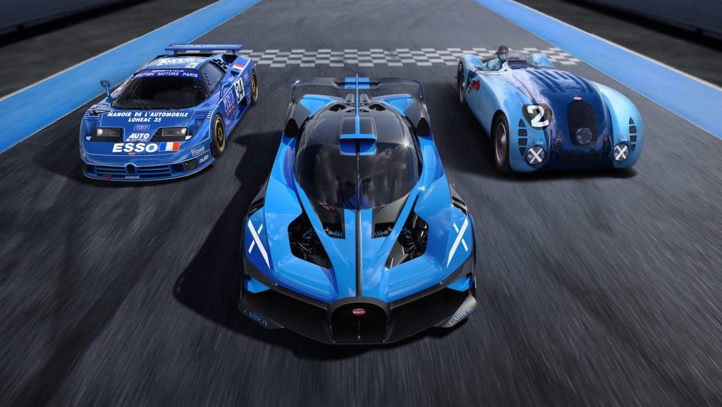 """The Bugatti Bolide, EB110, and Type 57G """"Tank"""" photo by Bugatti. Does this press photo signal the brand's intention for the Bugatti Bolide to race at Le Mans?"""