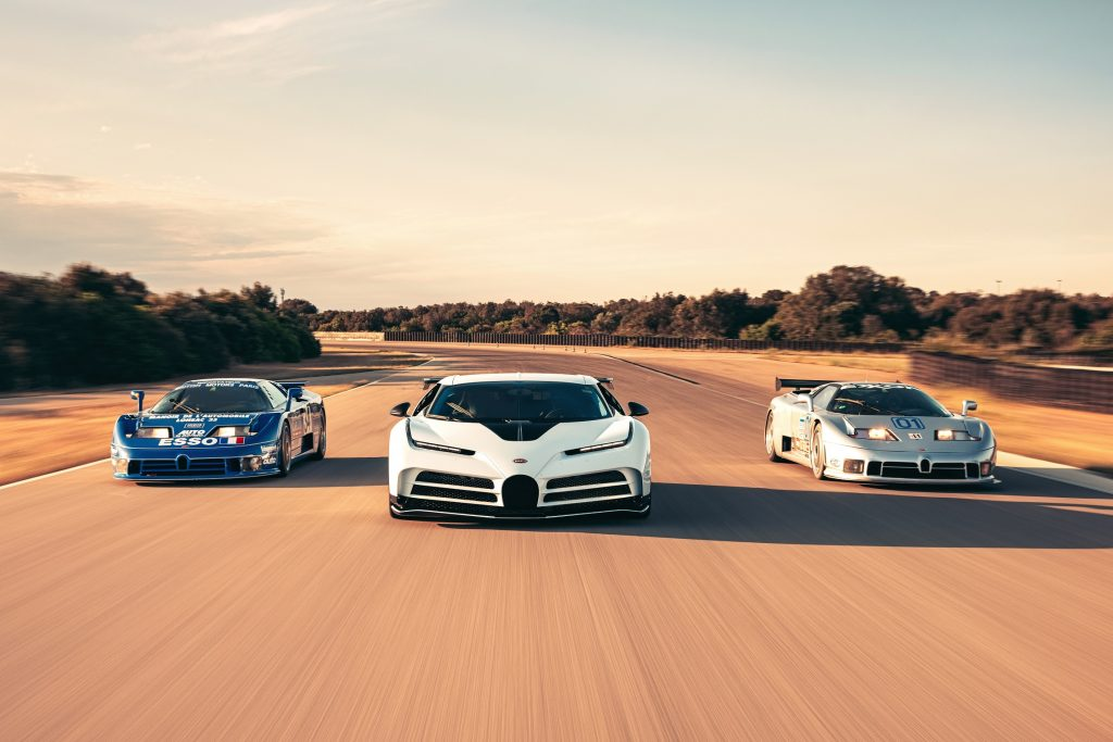 From left to right: A blue Bugatti EB110 LM, white Centodieci, and silver EB110 CS at Nardo