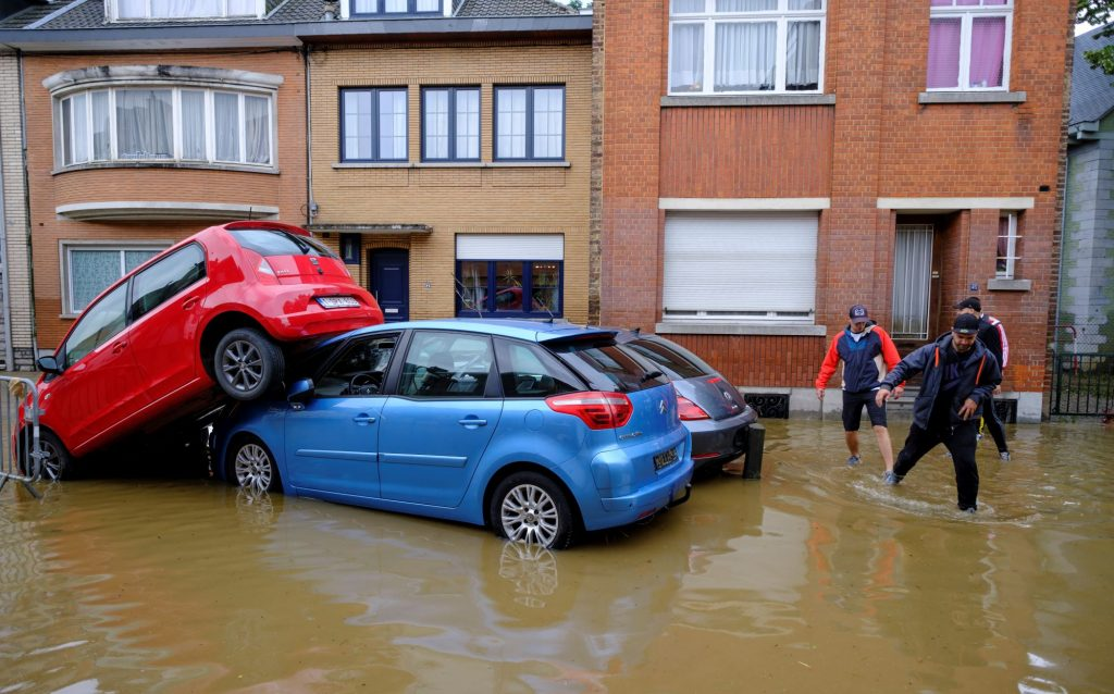 A car accident during flooding from storms in Angleur, Belgium