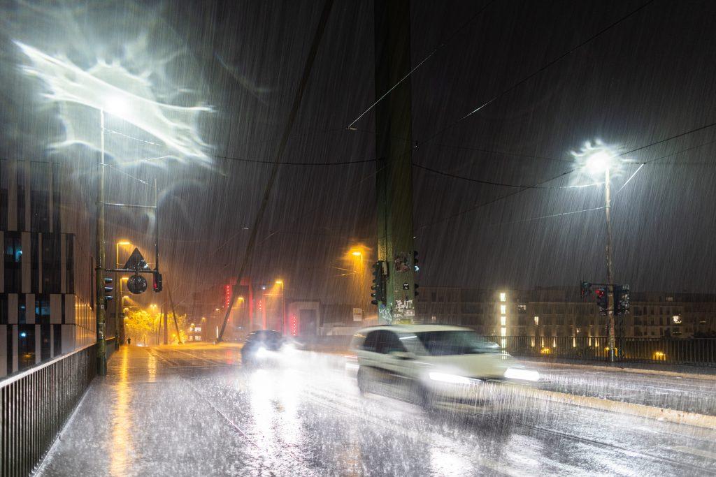 Cars Driving In Heavy Rain