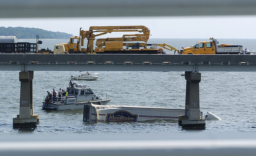 The driver of a tractor-trailer was killed as a result of a three-vehicle collision that caused the 18-wheeler to plunge into the Chesapeake Bay from the Bay Bridge on Sunday, August 10, 2008, in Annapolis, Maryland