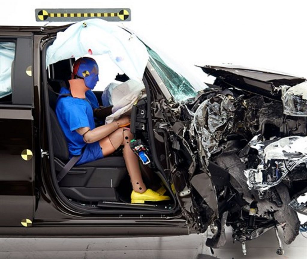 A Chevy Silverado being crash-tested.