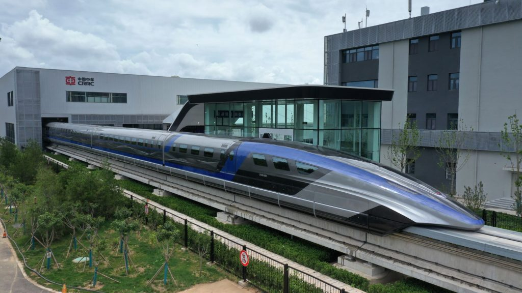 China's new high-speed maglev train at its rolling-off ceremony in Qingdao