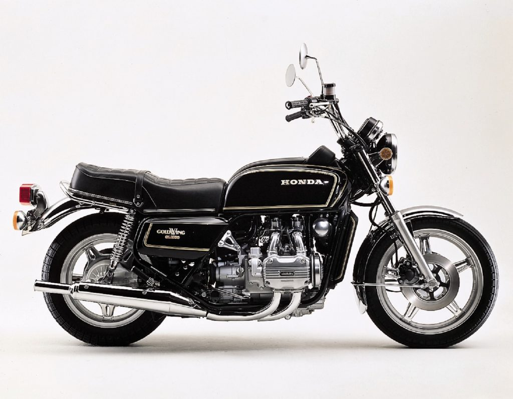 The side view of a black classic 1978 Honda GL1000 GoldWing touring motorcycle
