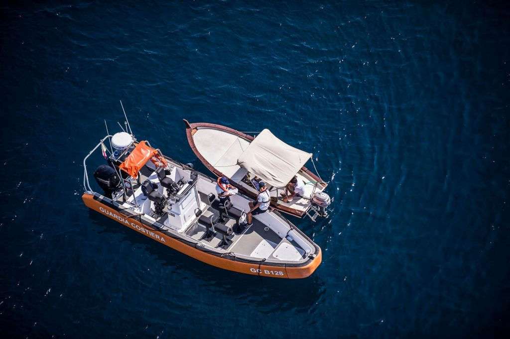 An aerial view of a Coast Guard ship rescue in Catania, Italy