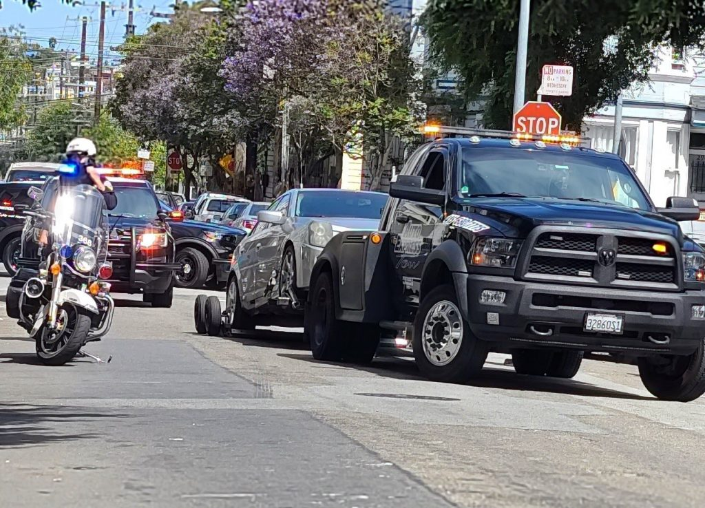 Confiscated CTS-V by SFPD on tow back