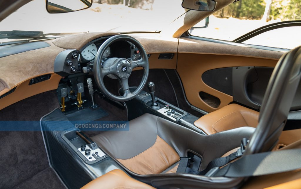 The tan-and-brown-leather interior of the Creighton Brown 1995 McLaren F1
