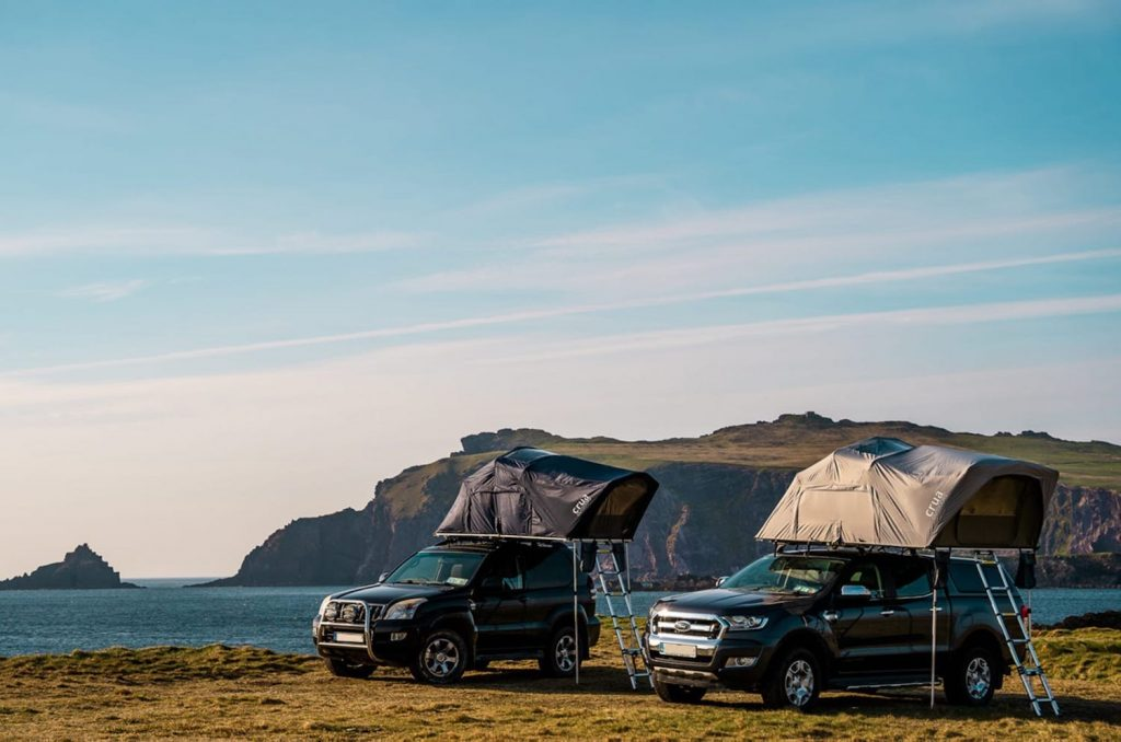 IndieGogo campaign photo of Two Aer Rooftop Tents   Crue Outdoors. One of the 5 Best Rooftop Tents For Overlanding -- According to Popular Mechanics