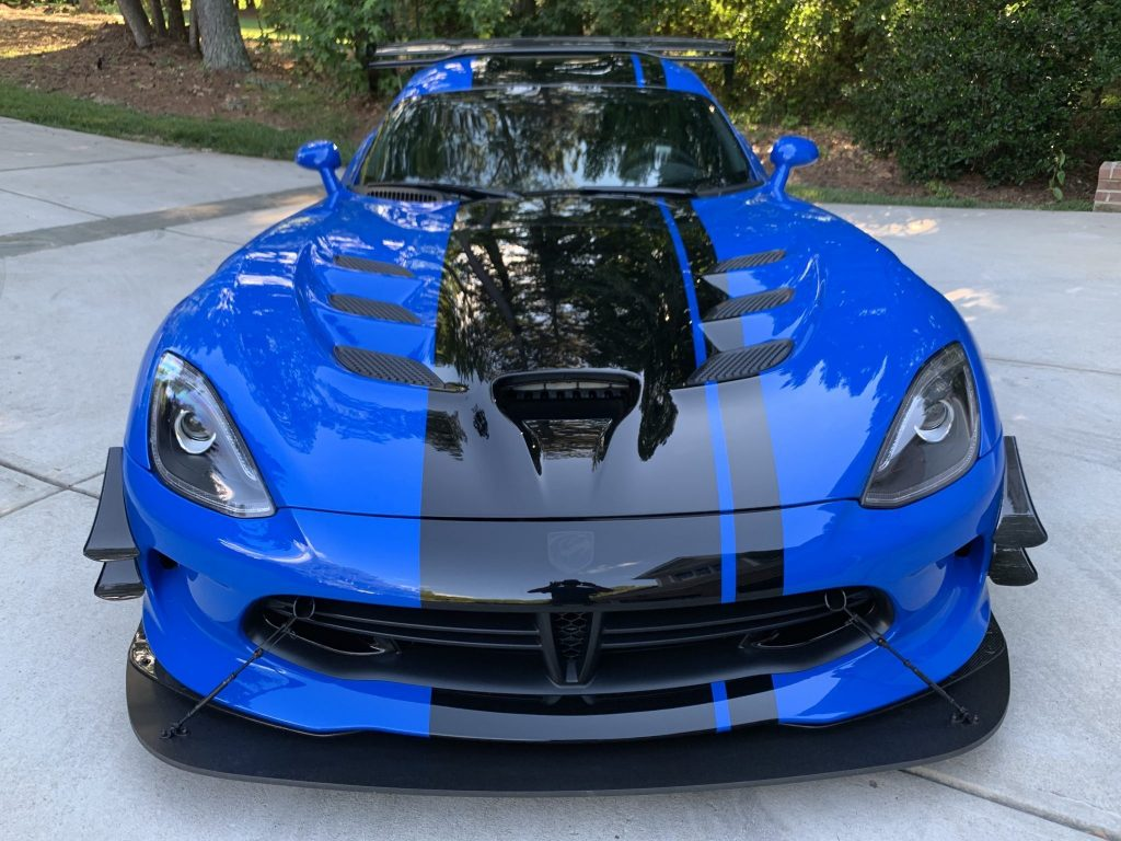 Dodge Viper ACR Extreme for sale on Bring a Trailer in blue with a black racing stripe
