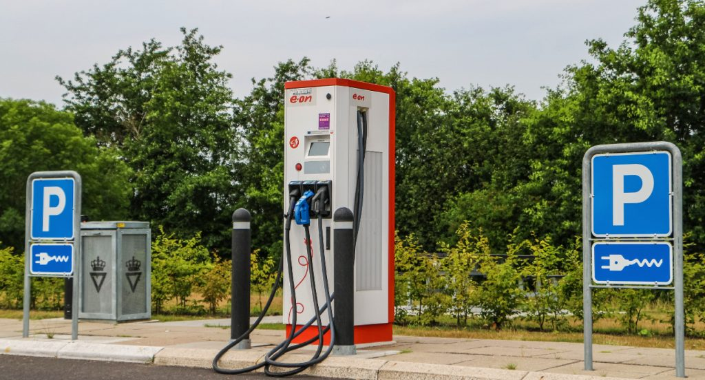 Electric cars charging point with high amps charger is seen on E45 motorway near Aalborg, Denmark on 29 July 2019.