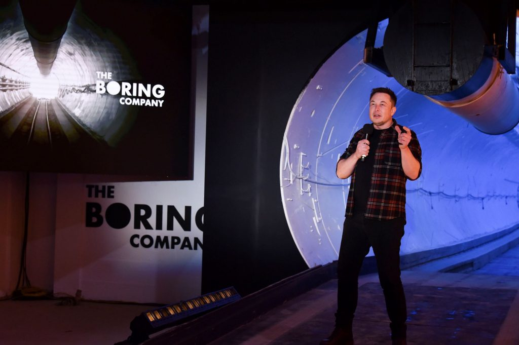 Elon Musk giving a speech at the Boring Company Hawthorne test tunnel in Hawthorne, California