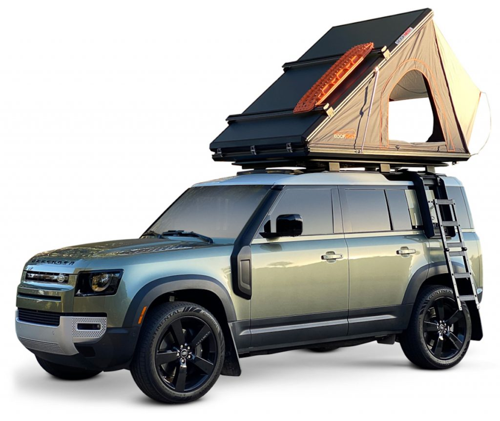 Publicity shot of The Falcon Hardshell Rooftop Tent   Roofnest. One of the 5 Best Rooftop Tents For Overlanding -- According to Popular Mechanics