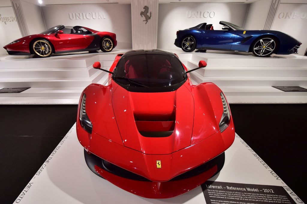 A red Ferrari LaFerrari hypercar, similar to the one collector David Lee purchased, is on display inside the Ferrari Museum in Maranello, Italy, in October 2015