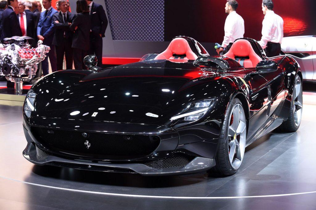 A black Ferrari Monza SP2 on display at the 2018 Paris Motor Show