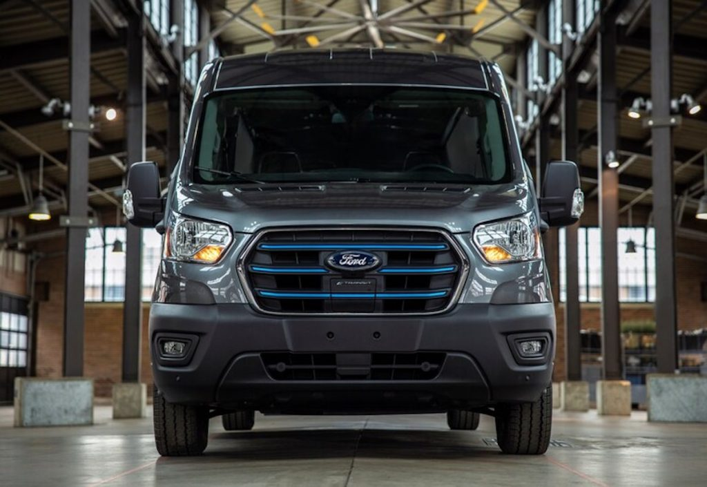 Front of the 2022 Ford E-Transit van.