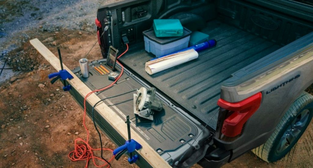 The Ford F-150 Lightning's truck bed.