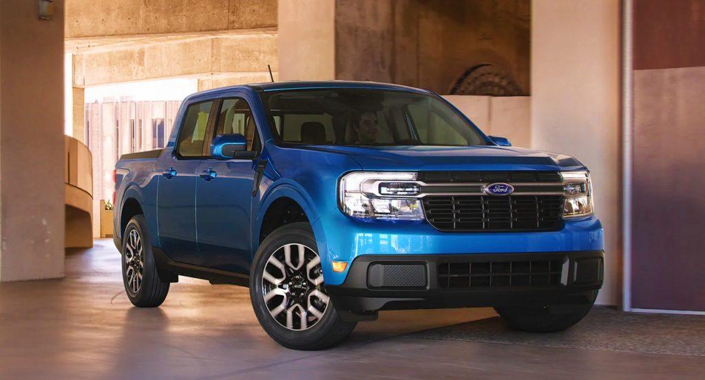 A blue Ford Maverick.