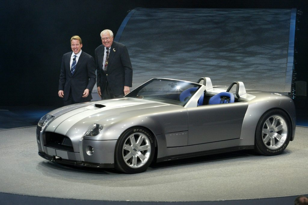 Carroll Shelby and Bill Ford Jr. introduce the Ford Shelby Cobra Concept at the North American International Auto Show 2004 in Detroit