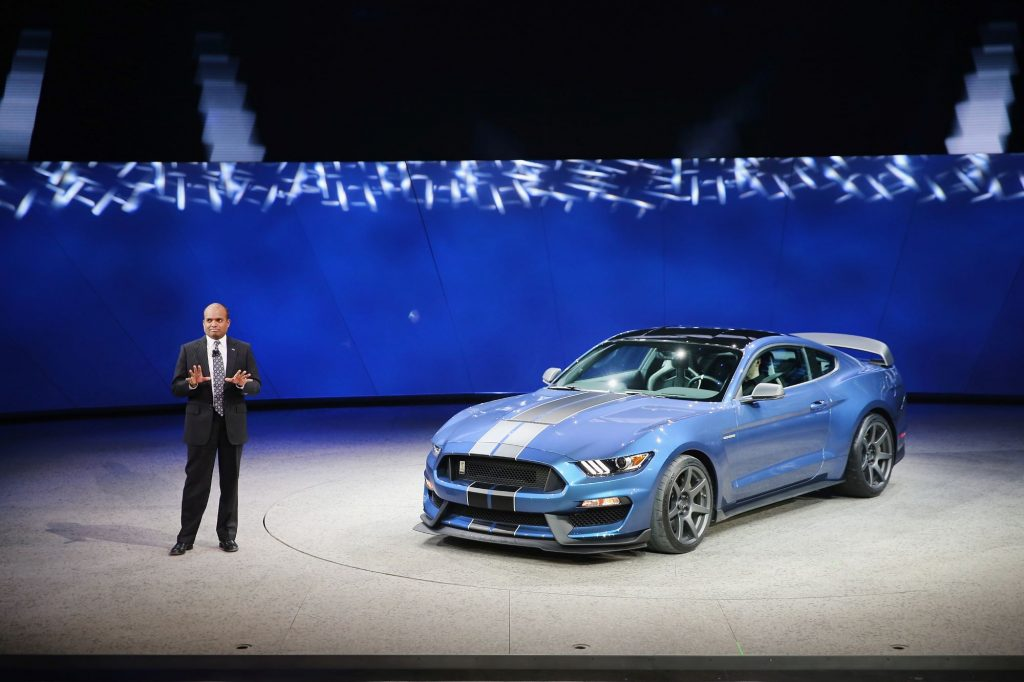 A Ford Motor Company executive introducing the new Ford Shelby Mustang GT350R model at the North American International Auto Show