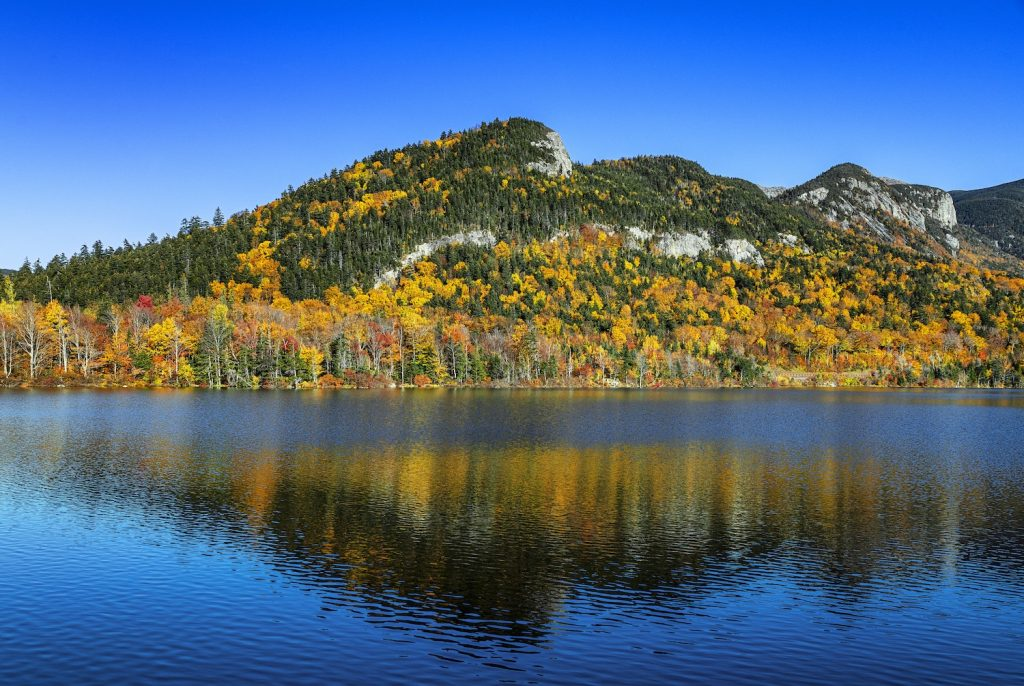 Autumn landscape at Echo Lake in Franconia Notch State Park in New Hampshire. one of the best RV campgrounds for fall foliage in New England