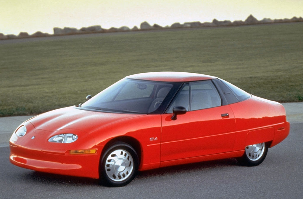 Red GM EV1 first mass-produced all-electric car