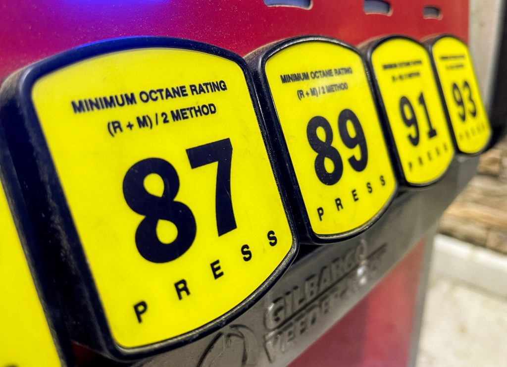 A close up of the options at gas pumps showing the 87, 89, 91, and 93.