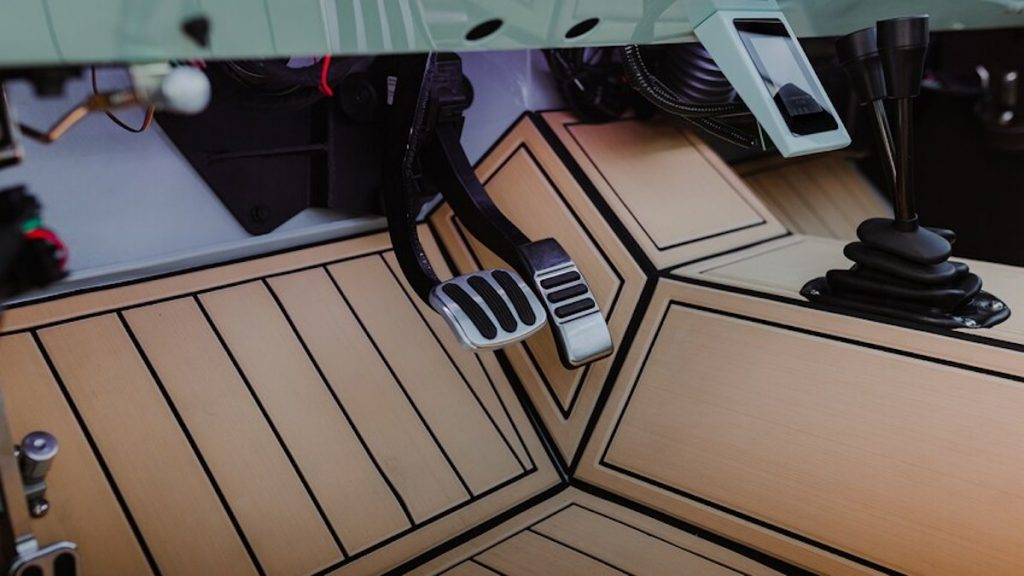 interior shots of the pedals for the electric Ford Bronco