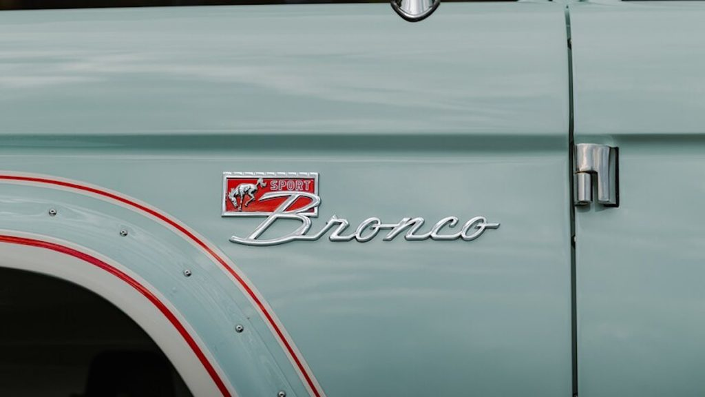 upclose shot of the electric bronco badge