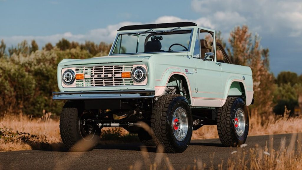 1972 Ford Bronco LUXE-GT made by Gateway Bronco parked on a road