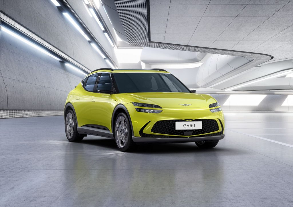 A yellow-green Genesis GV60