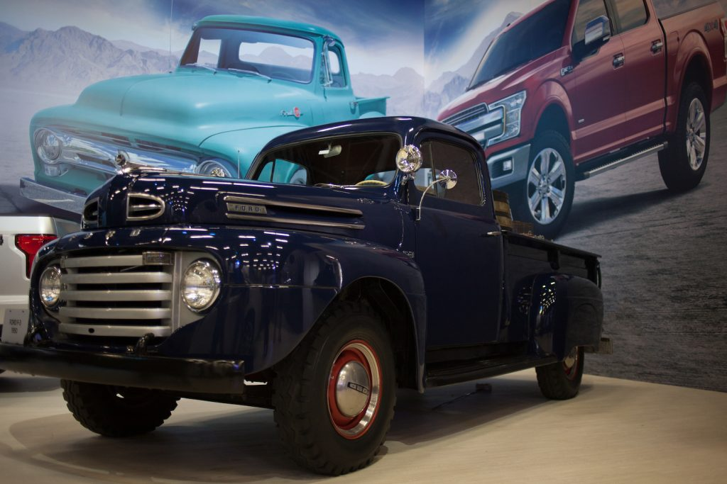 BOGOTA, COLOMBIA - NOVEMBER 11: The Classic Ford F3 Flathead Pickup Truck is displaying during the International Motor Show Bogota 2018 at Corferias Convention Center on November 11, 2018 in Bogota, Colombia.  (Photo by Juancho Torres/Getty Images)| Ford F-150 VS Toyota Land Cruiser: Which Is More Iconic?